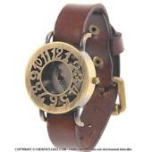 Montre R�tro / Vintage - Style Hippie Chic Boh�me - Boitier Laiton Cuivr� � 36 Mm - Bracelet Cuir