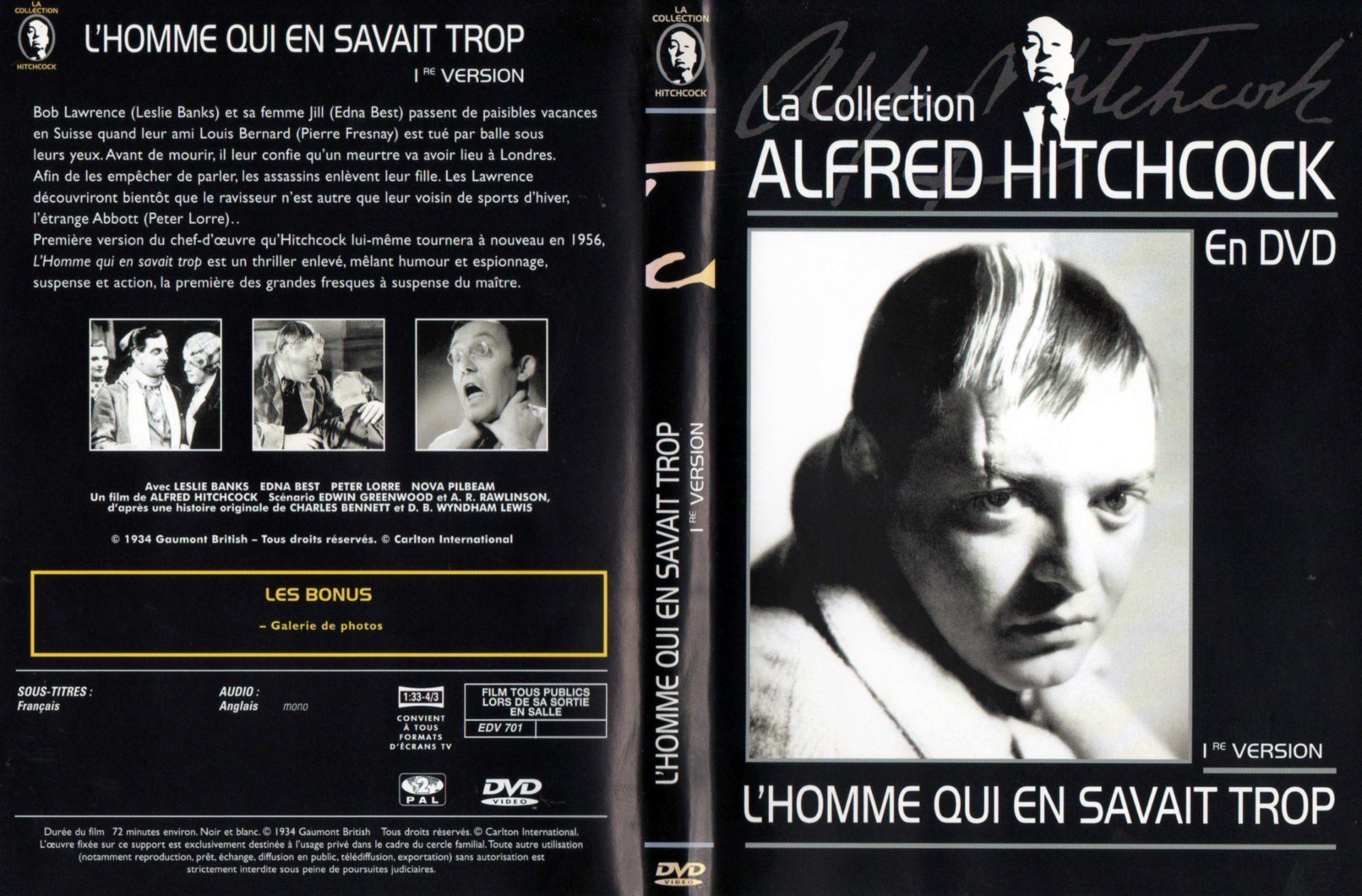 The Man Who Knew Too Much aka L'Homme qui en savait trop (1934, dir. Alfred Hitchcock) French Carlton-Journaux.fr magazine DVD