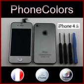 Kit Couleur Complet Iphone 4s Silver Argent Gris Demi Miroir (�cran Tactile + Lcd Retina + Vitre Arri�re + Bouton Home) Oem Apple + Kit Outils : Tournevis Cruciforme, Pentalobe Torx, Plat Spatule