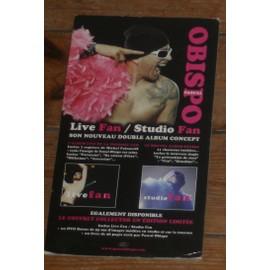 plv 14x25cm rigide cartonnée officielle pascal obispo album fan studio + live imprimée recto verso