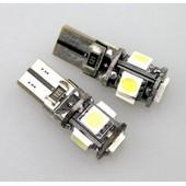 Lot De 10 Ampoules Veilleuse W5w T10 Led 5 Smd Canbus Anti Erreur Audi, Bmw, Vw, Mercedes, Renault