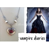 Collier Inspir� Vampire Diaries ,Porte Photo Ou Verveine Coeur Et Rose Rouge , Neuf !