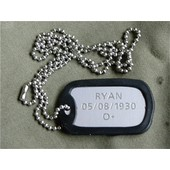 Plaque Militaire Gi + Cha�ne Gravure Offerte Armee Paintball Airsoft Dog Tag