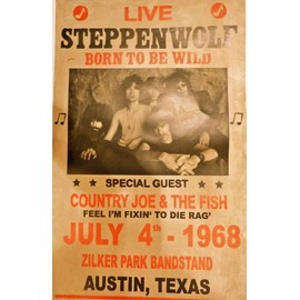 affiche de concert steppenwolf / country joe & the fish