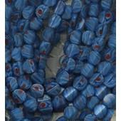 Lot De 10 Perles Petit Palet Bleu Marbr� Rouge- 12 Mm