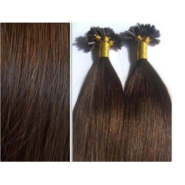 Lot 10 Extensions Cheveux � Froid + Clips Chatain N�6 0,5gr.