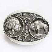 Boucle De Ceinture Tete D'indien Western Country Piece Dollar Usa Homme Femme
