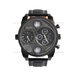 Montre Homme Gros Cadran Cadran Noir Fond Noir - 2 Fuseaux Horaires - 5 Mod�les Au Choix - Men Watch
