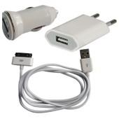 Chargeur Secteur + Voiture + C�ble Usb (3 En 1) Pour Iphone 4/4s/3g/3gs Et Ipod