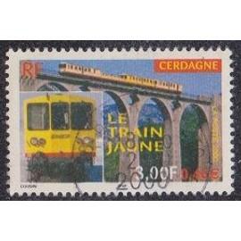 Timbre N°3338 Y&T 3,00 F multicolore Le train jaune de cerdagne, le train de face et sur un viaduc