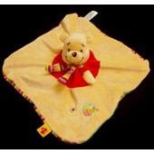 Doudou Peluche Winnie L'ourson Disney Nicotoy Plat Carr� Orange Rouge Echarpe Ray�e Abeille Brod�e