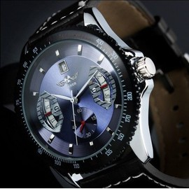 Montre Pour Homme Mecanique Automatique Bracelet Cuir Surpique - Automatic Watch - Ref U8028 Bleu