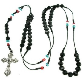 Chapelet Collier Crucifix Perle Noir Shamballa Drapeau France Sautoir Croix Catholique Jesus Christ Fashion