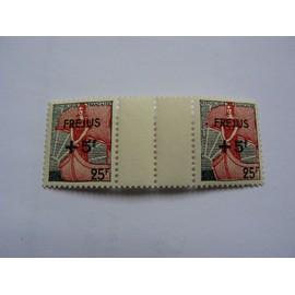 Paire de timbre Marianne à la nef avec intervalle, surchargée Fréjus + 5f N° 1229 neuf ++