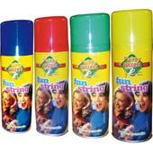 A�rosol Fil Fou Fluo Ininflammable De 83 Ml. Bombe Cotillons Serpentins Assorties Couleur Bleu , Rouge Vert Ou Jaune