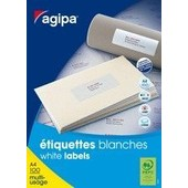 Agipa Etiquettes Coins Droits - �tiquettes Adh�sives Permanentes - Blanc - 70 X 35 Mm - 6500 �tiquette(S) ( 100 Feuille(S) X 24 ) -