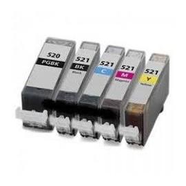 Canon Pgi520-Cli521 - Pack De Cartouches Compatibles - 2 Noir+3 Couleurs:C/M/Y - 350 Pages - Garantie 3 Ans