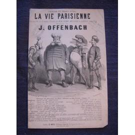 Partition piano et chant gravure de Cham - La Vie Parisienne d'Offenbach (Chanson à boire)