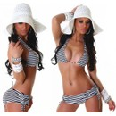 Maillot De Bain Femme Top Sexy Bikini Shorty Ray� Bleu Ou Noir Rembourr� Push Up