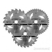 3 Lames Scie Circulaire Carbure De Tungst�ne - 184 X 30 Mm - Bagues De 20 Et 16 Mm