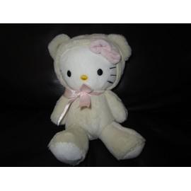 Doudou Peluche Chat Hello Kitty Deguise En Ours Blanc Sanrio Pour H&m H Et M 20 Cm Noeuds Roses
