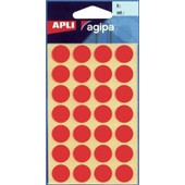 Apli Paper - �tiquettes Adh�sives Permanentes - Rouge - Arrondi 15 Mm 168 �tiquette(S) ( 6 Feuille(S) X 28 )