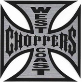 Autocollant West Coast Choppers 16x16 Cm Croix De Malte Officiel Biker Motard