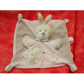 Lapin Nicotoy Doudou Carr� Plat Rose Ray� Abc Attache T�tine