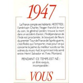 1947 Principaux �v�nements De L'ann�e. Carte D'anniversaire