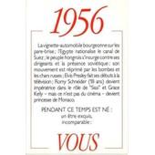 1956 Principaux �v�nements De L'ann�e. Carte D'anniversaire