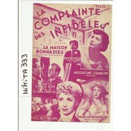 La Complainte Des Infideles du film la maison bonnadieu - danielle darieux - mouloudji - jacqueline françois
