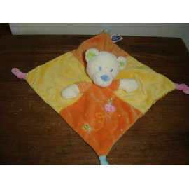 Doudou Plat Ours Orange Et Jaune Mots D'enfants