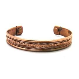 Bracelet En Cuivre Aspect Vielli 2 Aimant Magnetique Tribal Inca