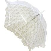 Parapluie Ombrelle En Dentelle Couleur Blanc Ivoire Ou Rose De 69cm De Longueur. Diam�tre 96cm - 8 Baleines . Accessoire Deguisement Belle Epoque Mariage