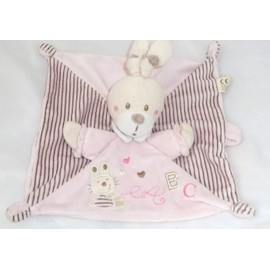 Lapin Nicotoy Doudou Carr� Plat Rose Ray� Abc Attache T�tine Nicotoy