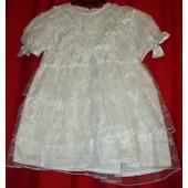 dc1cb61957b42 Robe De Baptême J.Raph Blanche Avec Perles Et Dentelle