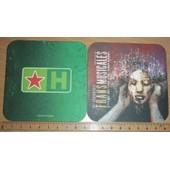 Sous-Bock Sous Verre Cartonn� Bi�re 2 Faces Imprim�es Heineken Transmusicales 2004 Rennes Aeroport 26 Rencontres