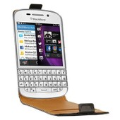 Etui Rabat Cuir Noir Pour Blackberry Q10