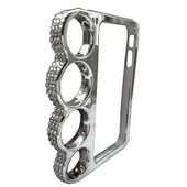 Coque Pour Iphone 4 / 4s - Forme Poing Am�ricain - Strass & Chrome -