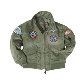 Blouson Aviateur Enfant Vert Olive Pilote De Chasse Marine Americaine Top Gun Miltec 12004001 Airsoft