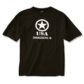 Tee Shirt Noir M. Druck Allied Star Forces Alliees Americaines Usa Manches Courtes Miltec 11053002 Airsoft