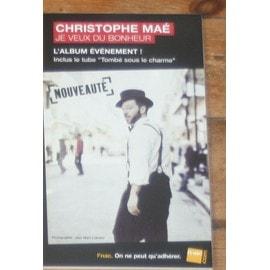 plv 14x25cm christophe mae je veux du bonheur  rigide cartonnée magasins fnac