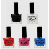 Lot De 5 Vernis A Ongle Stamping Nail Art 5 Couleurs 10 Ml