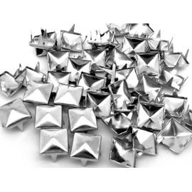 50 Clous Pyramide Argent� 10 X 10 Mm - Pour Customiser Et Looker Vos Chaussures, Ceintures, V�tements, Sacs, Etc...