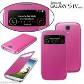 Etui A Rabat View Housse Coque + 3 Films Pour Samsung Galaxy S4 Mini I9195