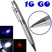 Stylo 5 en 1 cl� USB 16 Go + pointeur laser + lampe de poche � led + UV - Argent