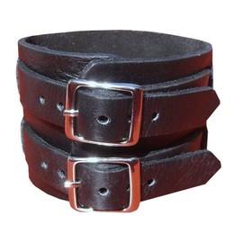 Bracelet De Force Noir - Cuir Vachette 100% V�ritable - Fermeture Par 2 Sangles - Artisanat ! Fait Main ! - Ajustable De La Taille 17 Cm � La Taille 21 Cm - Possibilit� De Faire D'autres Trous