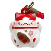 Maneki Neko Maneki-Neko Manekineko Japon Japonais Asie Asiatique Chinois Chine Bijoux Pendentif Portable Telephone Chat Figurine Porte Bonheur Prosp�rit� Chance Lucky Cat Feng Shui