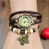 Montre Bracelet Femme Marron / Fille R�tro / Vintage Cuir Avec Perles Et Papillon