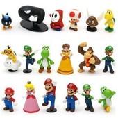 Lot De 18 Figurines Univers Super Mario Bros